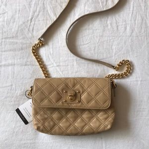 Marc Jacobs quilted beige/tan leather crossbody